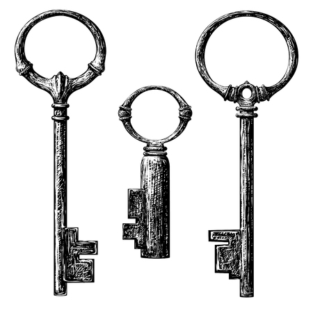 old style key collection . etching drawing Illustration