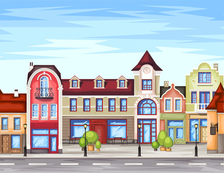 small town: Small town street with coffee shop.Vector illustration of stylized colorfull city landscape.Old town . Illustration