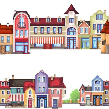 Vector illustratie van gestileerde kleurrijke stad landscape.Old stad.