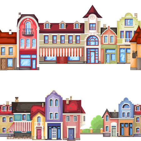cobble: Vector illustration of stylized colorfull city landscape.Old town .