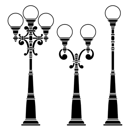 Street lamps collection, lantern set Ilustracja