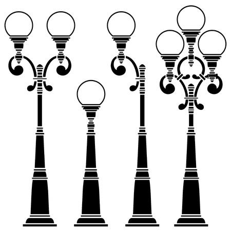 Street lamps collection, lantern set Illustration