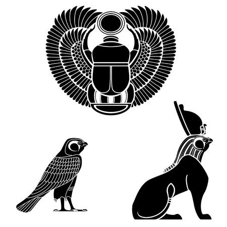 tutankhamen: Set of egyptian ancient symbol, egyptian element , pharaoh