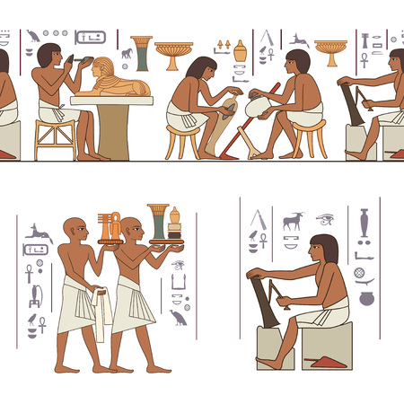 Ancient egypt banner.Egyptian hieroglyph and symbol. Stylized ancient culture background.Murals with ancient egypt scene Illustration
