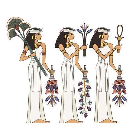 Illustration der ägyptischen Frau getrennt auf weißem Hintergrund. Wandbilder mit alten Ägypten-Ikonen Vektorgrafik