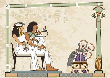 Two egyptian couple sitting and watch something Murals with ancient egypt icons.