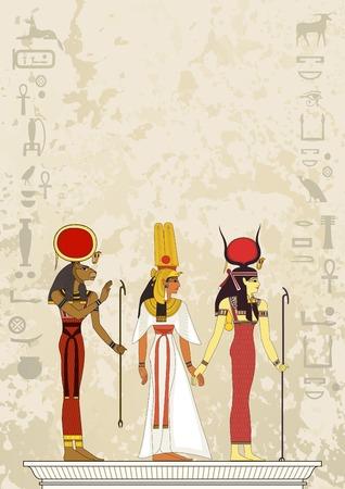 Peintures murales avec la scène de l'Egypte antique. Bannière Egypte antique. Hiéroglyphe égyptien et symbole. Banque d'images - 90777008
