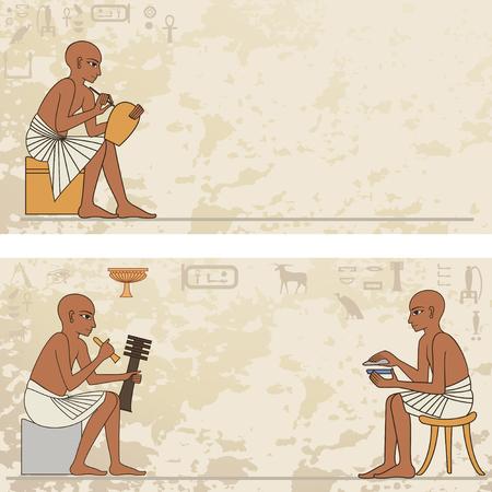 Peintures murales avec la scène de l'Egypte antique. Bannière Egypte antique. Hiéroglyphe égyptien et symbole. Banque d'images - 90777011