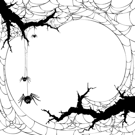 Silhouette of spider web. Halloween background symbol and element.