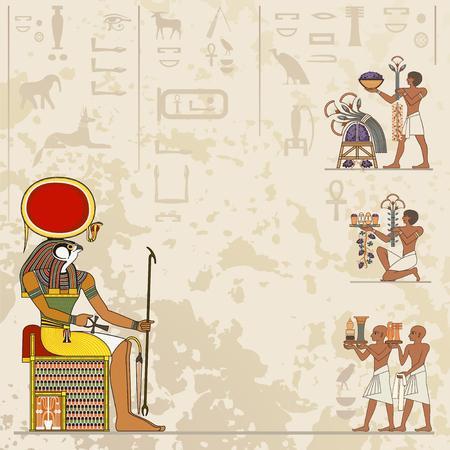 Wandbilder mit alter Ägypten-Szene. Alte Ägypten-Fahne. Ägyptische Hieroglyphe und Symbol. Vektorgrafik