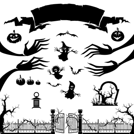 Silhouette of monster, pumpkin, ghost isolated on white. Halloween background symbol and element. Illustration