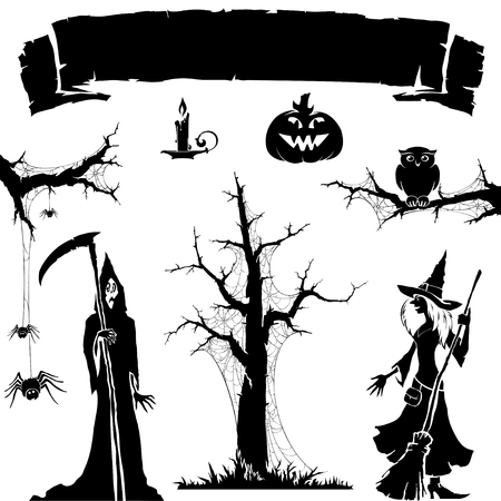 Halloween icon. Silhouette of monster, pumpkin, ghost.Halloween backgrund symbol and element.