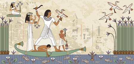 Ancient egypt banner.Egyptian hieroglyph and symbol.Murals with ancient egypt scene.
