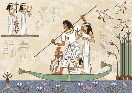 Bandera del antiguo egipto. Jeroglífico egipcio y símbolo. Murales con la escena del antiguo egipto. Ilustración de vector