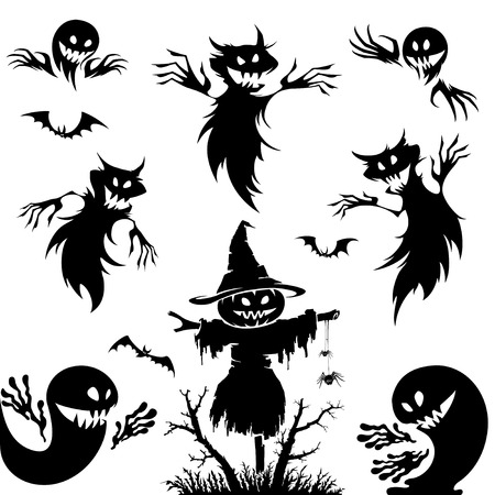 Halloween set.Pumpkin , broom , ghost as elements for halloween design. Ilustracja