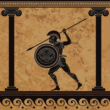 Ancient greece warrior. Black figure pottery.Sparta.Ancient civilization Illustration