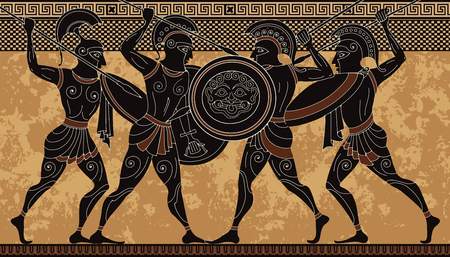 Ancient greece warrior.Black figure pottery.Ancient greek scene banner.Hero,spartan,myth.Ancient civilization culture 免版税图像 - 125590315