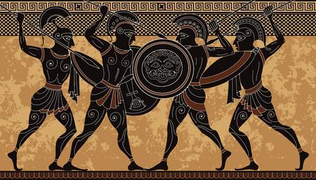 Guerrero de la antigua grecia. Cerámica de figura negra. Bandera de la escena griega antigua. Héroe, espartano, mito. Cultura de la civilización antigua