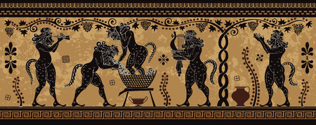 Ancient greek painting.Pottery art.. Mediterranean culture.Ancient greece mythology. Vettoriali