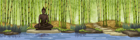 Bamboo forest with buddha statue.Meditation.Trop[cal garden. Ilustracja
