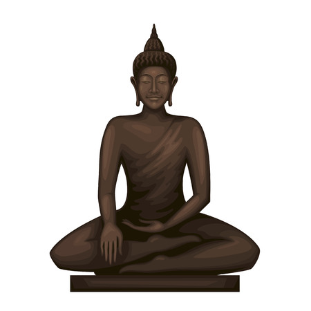 Buddha sitting in meditation . Goddess statue.Mindfulness vector art. Stock Illustratie