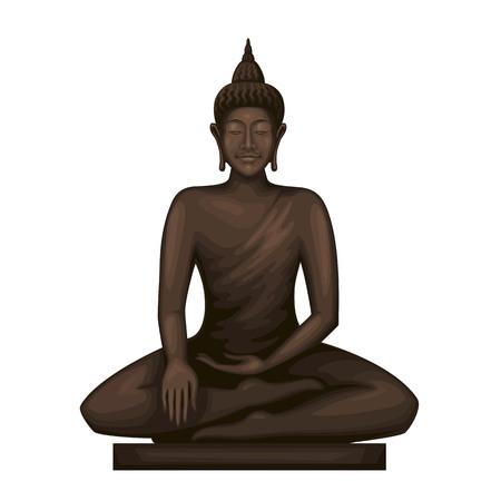 Buddha sitting in meditation . Goddess statue.Mindfulness vector art. Illustration