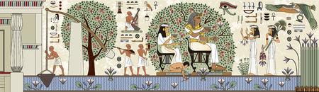 Altes Ägypten-Hintergrund. Ägyptische Hieroglyphe und Symbol Alte Kultur singen und Symbol. Wandbilder mit alter Ägypten-Szene.