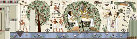 Sfondo antico Egitto. Geroglifico egiziano e simbolo La cultura antica canta e simbolo. Murales con scena dell'antico Egitto.