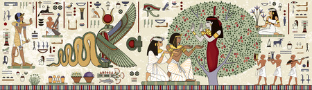 Ancient egypt background.Egyptian hieroglyph and symbolAncient culture sing and symbol.Murals with ancient egypt scene.