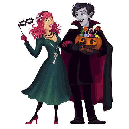 Vampires.Halloween. Frightening gloomy couple .Costume.Masquerade