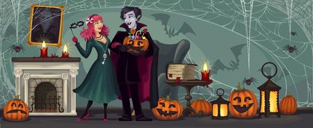 Vampires.Halloween party. Frightening gloomy couple at home. Ilustracja