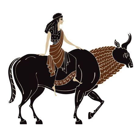 Ancient greek mythology.Zeus.Pottery art.Abduction of Europe.