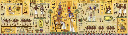 Ancient egypt background.Egyptian hieroglyph and symbolAncient culture sing and symbol. Ilustração