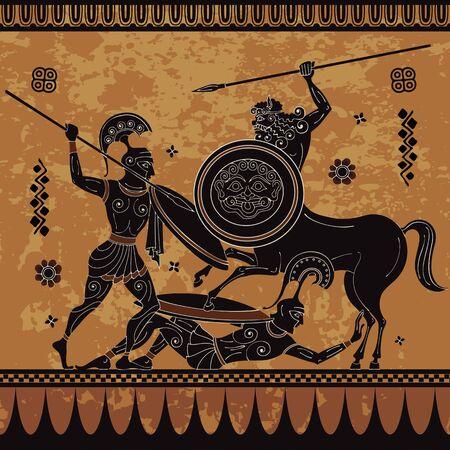Centaur,hero,spartan,myth.Ancient civilization culture.Ancient greece warrior.Black figure pottery.Ancient greek scene banner. 向量圖像