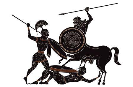 Zentaur, Held, Spartan, Mythos. Antike Zivilisationskultur. Antiker griechischer Krieger. Schwarze Figur Keramik. Antike griechische Szene Banner. Vektorgrafik