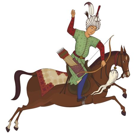 Horse rider.Persian miniature stylized illustration.Medieval sceen.Mughal design.