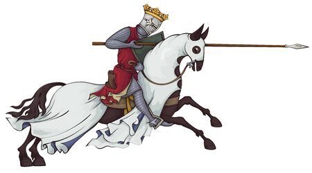 Medieval knight on horse.King.Rider in mail armor on horseback.Old style.Illustration.