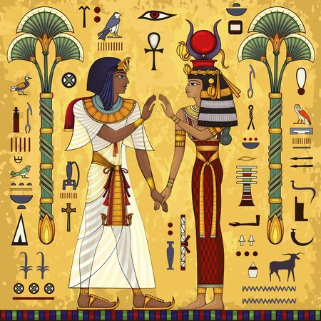Ancient egypt mural.Egyptian mythology.Ancient culture sing and symbol.Historical background.Ancient goddess.