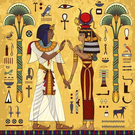Mural del antiguo Egipto. Mitología egipcia. Cultura antigua canta y símbolo. Fondo histórico. Diosa antigua.