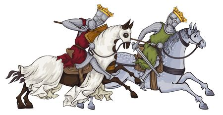 Medieval knight .King.Rider in mail armor on horseback.