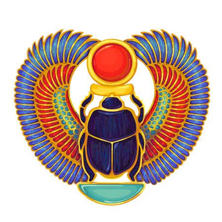 Scarab..Egyptian hieroglyph and symbolAncient culture sing and symbol.Religion icon.Design element. Illusztráció