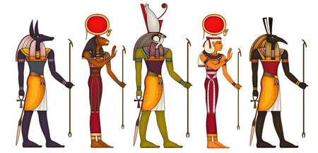 Egyptian ancient symbol.Religion icon.Egypt deiteis.Culture.Design element.Horus.Set.Anubis.Sekhmet.Hathor. Vektorgrafik