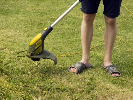 Trimmer for cutting the lawn. Grass shearing equipment. Garden technology. Stock Photo