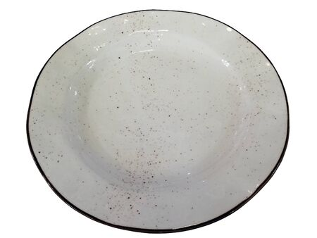 A white ceramic dish with a brown rim and brown spray. Beautiful tableware. Kitchen utensils. Banco de Imagens - 132123287