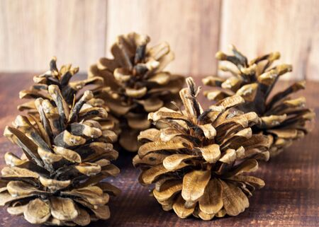 Christmas composition. Pine cones on a rustic vintage wooden background with a garland. Flat lay, top view, copy space 写真素材