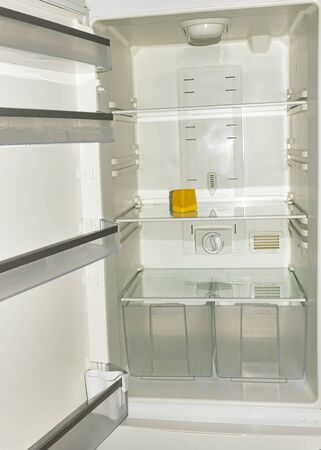 A piece of yellow old cheese lies on the empty shelves of the refrigerator. The concept of diet and hunger. Proper healthy eating.