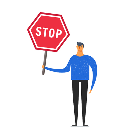 Stylized character. Concept business and live illustration. Popular man with a small head and a big body.The man is holding the sign STOP.
