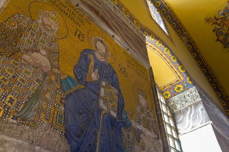 Mosaic of Virgin Mary and Jesus Christ and other Saints in the Hagia Sofia church Editorial