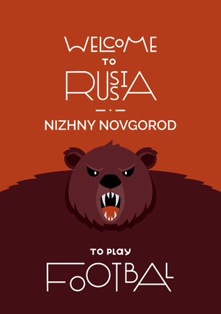Lettering welcome to Russia. FIFA World Cup in Russia 2018. The traditional symbol of Russia is an animal bear. Vector illustration.Nizhny Novgorod city