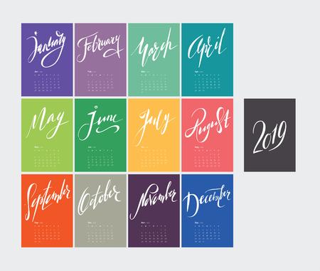 Lettering calendar for 2019. Handwritten colorful calendar design, vector 8 illustration. Set of 12 months. Week starts sunday. A4 format. Banco de Imagens